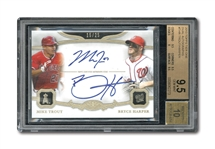 2013 TOPPS TIER ONE DUAL AUTOGRAPHS MIKE TROUT & BRYCE HARPER (15/25) – BGS GEM MINT 9.5 / BECKETT 10 AUTO.