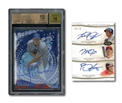 2014 TOPPS TIER ONE MIKE TROUT, BRYCE HARPER & MIGUEL CABRERA TRIPLE AUTOGRAPHED CARD PLUS 2014 TOPPS HIGH TEK AUTOGRAPHS BLUE DOTS DIFFRACTOR CLAYTON KERSHAW (BGS PRISTINE 10 / BECKETT 10 AUTO.)