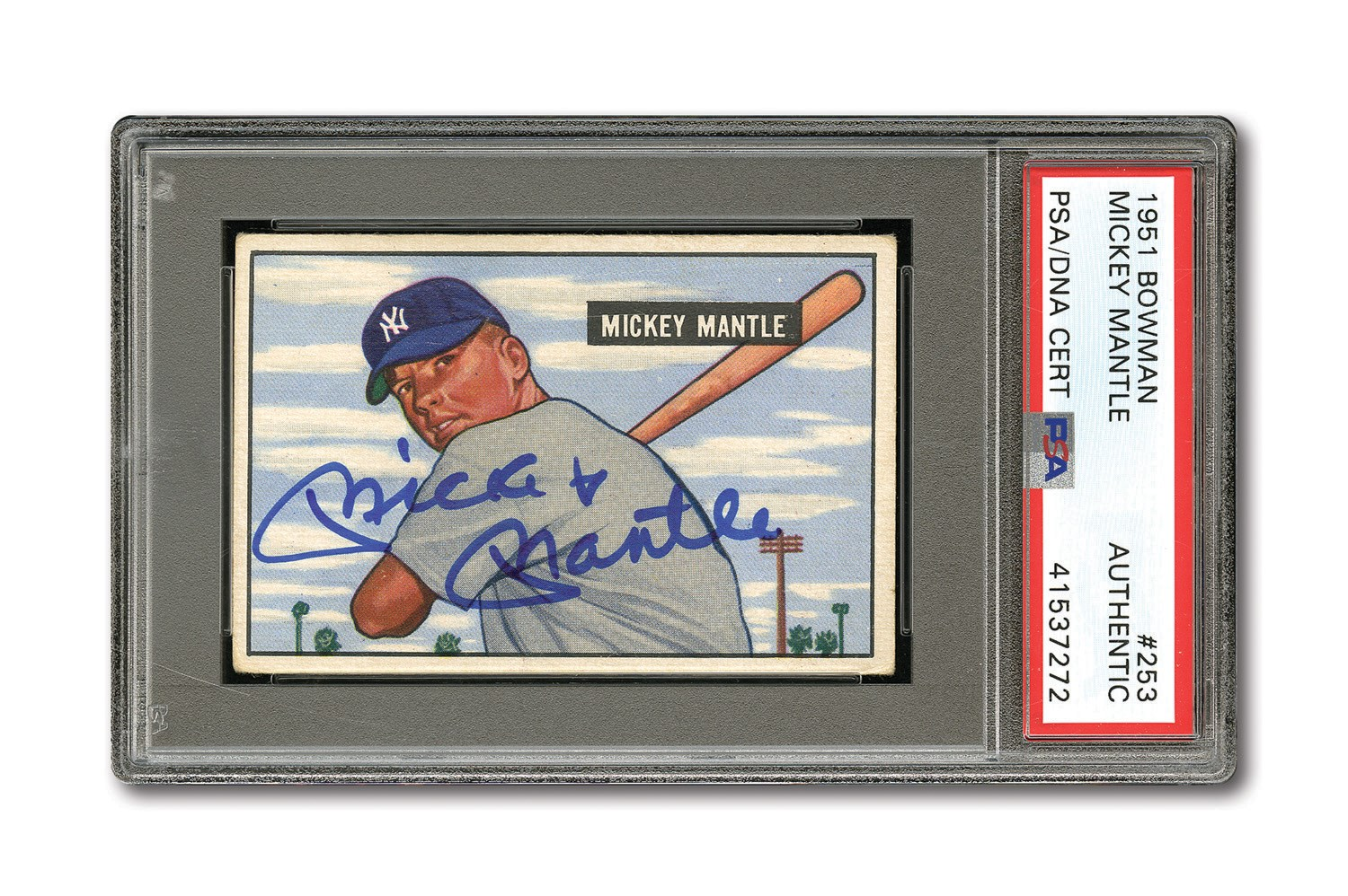 Lot Detail 1951 Bowman 253 Mickey Mantle Autographed
