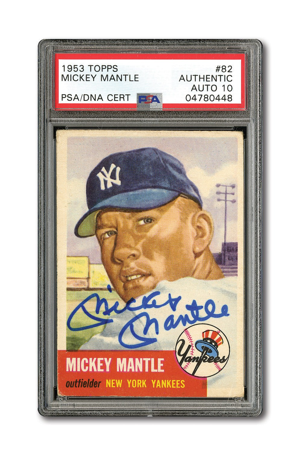 Lot Detail 1953 Topps 82 Mickey Mantle Autographed Psadna Gem