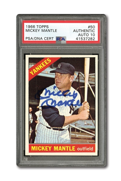 1966 TOPPS #50 MICKEY MANTLE AUTOGRAPHED PSA/DNA GEM MINT 10 (AUTO.)