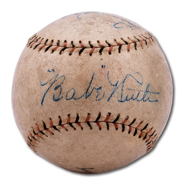 C. LATE 1920S BABE RUTH AND LOU GEHRIG DUAL-SIGNED BASEBALL - PHENOMENAL EXAMPLE!