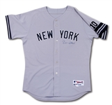 2007 ROBINSON CANO SIGNED NEW YORK YANKEES GAME WORN (INCL. ALDS) ROAD JERSEY WITH #10 RIZZUTO PATCH & BLACK MEMORIAL ARMBAND (STEINER LOA, MLB AUTH.)