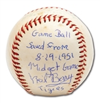 "9/19/1951 ST. LOUIS BROWNS VS. DETROIT TIGERS GAME USED BASEBALL FEATURING 3 7"" EDDIE GAEDAL – SIGNED & NOTATED BY TIGERS SS NEIL BERRY (BERRY LOA)"