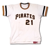 1971 ROBERTO CLEMENTE PITTSBURGH PIRATES GAME WORN HOME JERSEY FROM WORLD SERIES CHAMPIONSHIP SEASON (MEARS A7.5)