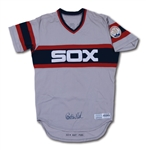 1983 CARLTON FISK AUTOGRAPHED CHICAGO WHITE SOX GAME WORN ROAD JERSEY