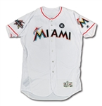 4/12/2017 GIANCARLO STANTON MIAMI MARLINS GAME WORN JERSEY PHOTO-MATCHED TO FIRST 2 HOME RUNS OF HISTORIC 59-HR SEASON (PM&G LOA, MLB AUTH.)