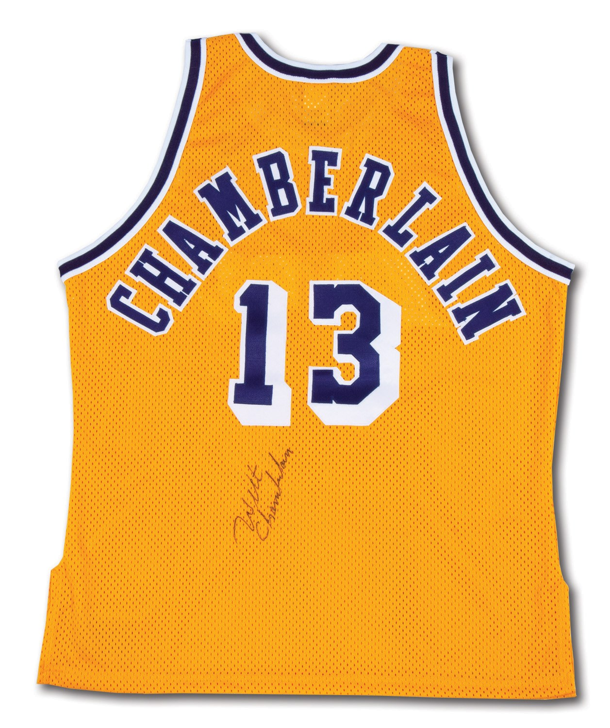 77600ff1279 WILT CHAMBERLAIN AUTOGRAPHED LOS ANGELES LAKERS HOME JERSEY. Tap to expand