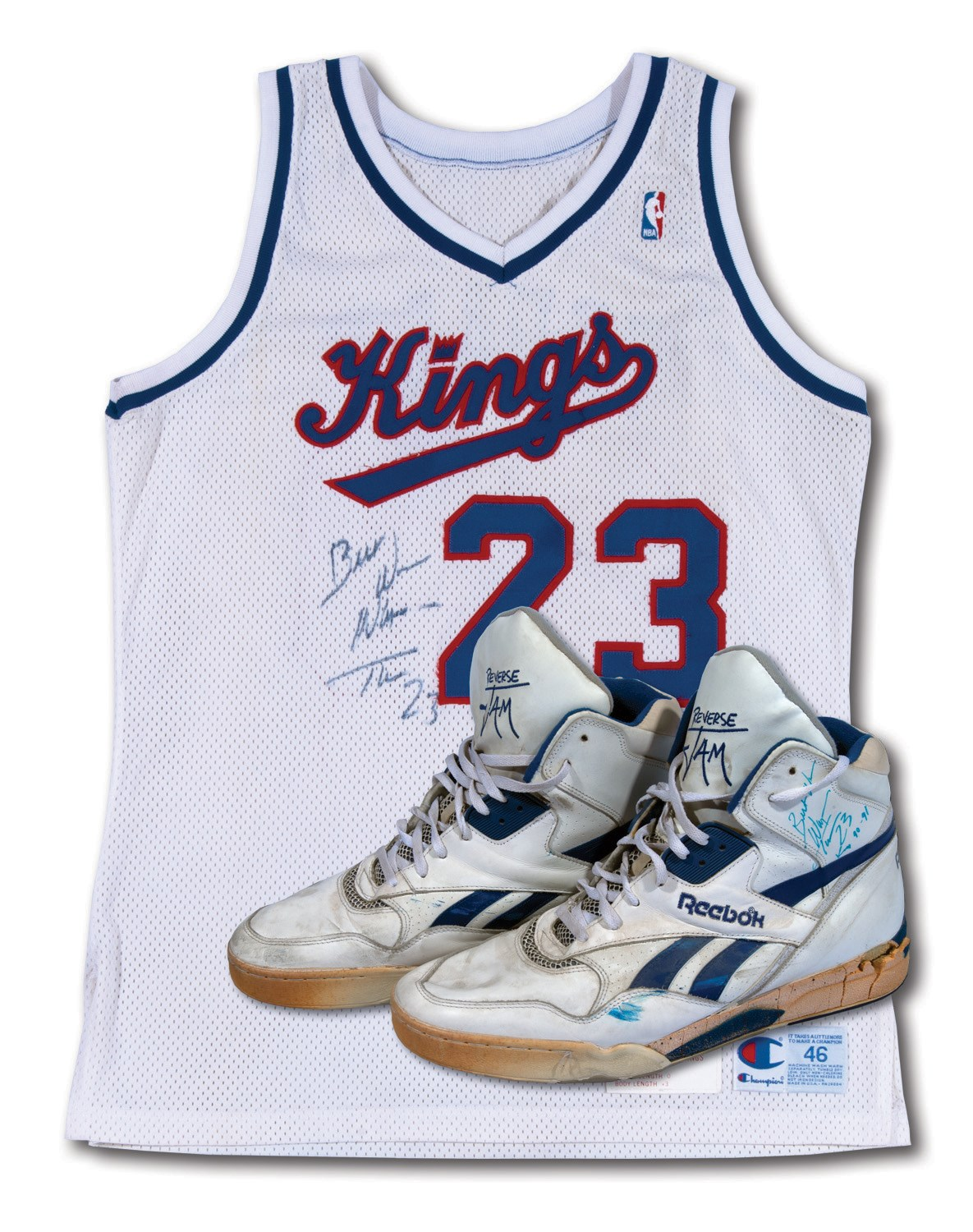 ecdc24ce0 1990-91 WAYMAN TISDALE SIGNED SACRAMENTO KINGS GAME WORN HOME JERSEY AND  PAIR OF DUAL-SIGNED GAME WORN AVIA SHOES