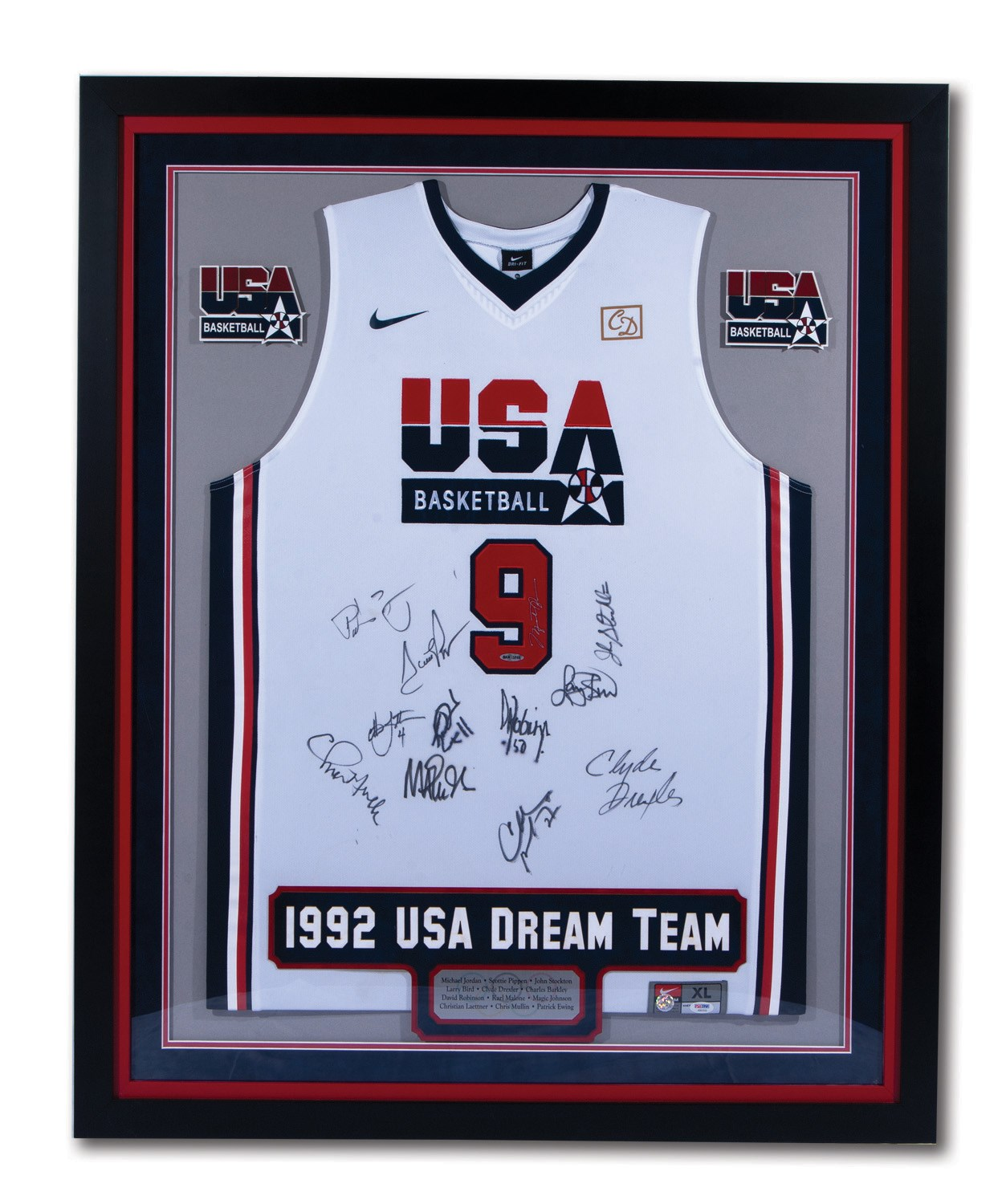 fc9bc7a8b8a 1992 OLYMPICS USA DREAM TEAM SIGNED  9 MICHAEL JORDAN JERSEY WITH ALL 12  PLAYER AUTOGRAPHS. Touch to zoom