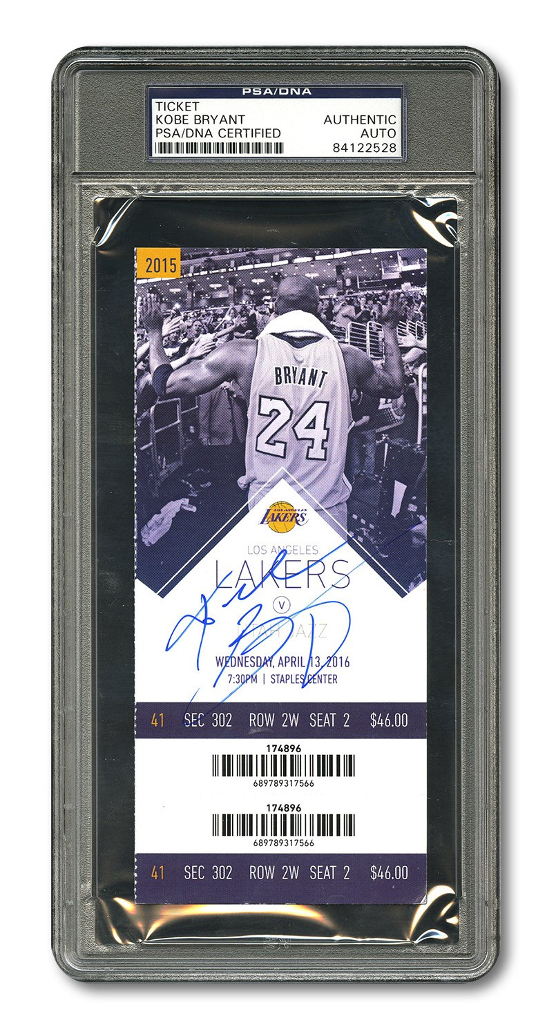 64381b93 KOBE BRYANT AUTOGRAPHED 4/13/2016 FULL TICKET FROM HIS FINAL CAREER GAME  AND 60-POINT FAREWELL PERFORMANCE – PSA/DNA AUTHENTIC (PANINI COA)