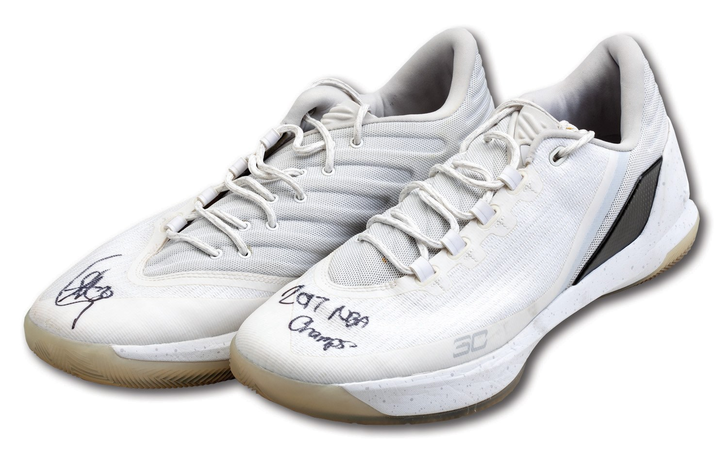 73bf0603939 2016-17 STEPHEN CURRY SIGNED & INSCRIBED UNDER ARMOUR CURRY 3 SHOES  PHOTO-MATCHED TO WARRIORS MEDIA DAY AND PRESEASON USE (STEINER, MEIGRAY)