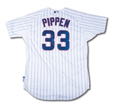 "10/22/2016 SCOTTIE PIPPEN SIGNED CHICAGO CUBS JERSEY WORN TO THROW OUT 1ST PITCH AND SING ""TAKE ME OUT TO THE BALL GAME"" DURING NLCS GAME 6 CLINCHER AT WRIGLEY (RESOLUTION PHOTO-MATCHED)"