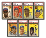 1954 TOPPS BASEBALL COMPLETE SET OF (250) WITH 7 PSA GRADED INCL.  #94 BANKS (EX-MT 6) AND #128 AARON (VG 3) ROOKIES