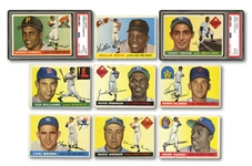 1955 TOPPS BASEBALL COMPLETE SET OF (206) WITH PSA GRADED CLEMENTE & KOUFAX ROOKIES