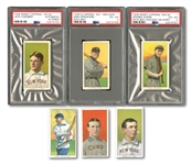 1909-11 T206 LOT OF (40) DIFFERENT WITH 5 HALL OF FAMERS INCL. EVERS & CRAWFORD BOTH PSA VG-EX 4