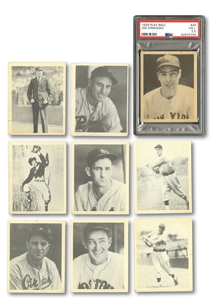 1939 PLAY BALL LOT OF (33) DIFFERENT INCL. #26 DIMAGGIO (PSA VG+ 3.5) & 7 TOTAL HALL OF FAMERS