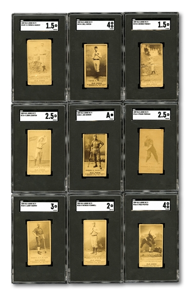 1887-90 N172 OLD JUDGE LOT OF (9) INCL. EWING & MASCOT PLUS SUPER RARE VINTON, PFEFFER AND MURPHY VERSIONS (ALL SGC GRADED)