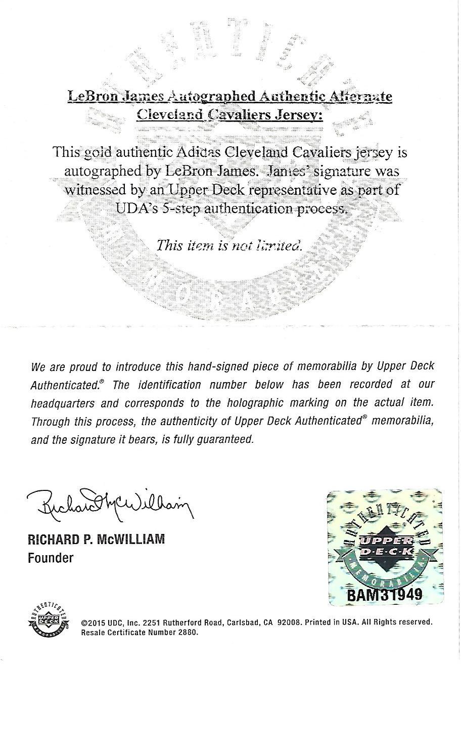 d2209ea973e7 LEBRON JAMES AUTOGRAPHED 2014 CLEVELAND CAVALIERS ALTERNATE JERSEY (UDA  COA). Tap to expand. Previous