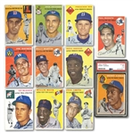 1954 TOPPS BASEBALL STARTER SET OF (63) DIFFERENT INCL. #128 AARON ROOKIE (PSA FR 1.5) PLUS 24 DUPLICATES