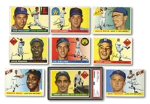 1955 TOPPS BASEBALL STARTER SET OF (92) DIFFERENT INCL. PSA GRADED #123 KOUFAX ROOKIE PLUS 5 DUPLICATES