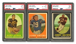 1958 TOPPS FOOTBALL COMPLETE SET OF (132) WITH PSA GRADED JIM BROWN (RC), UNITAS & STARR