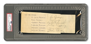 C. 1931 NEW YORK YANKEES HALL OF FAMERS CUT SIGNATURE INCL. GEHRIG, LAZZERI, COMBS, PENNOCK, DICKEY & RUFFING (PSA/DNA AUTH.)