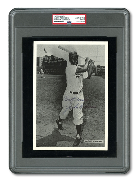 "JACKIE ROBINSON AUTOGRAPHED BROOKLYN DODGERS PHOTO INSCRIBED ""BEST WISHES"" (PSA/DNA AUTH.)"
