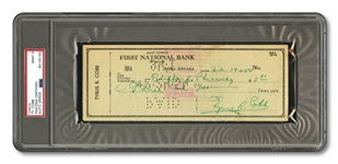 1954 TY COBB SIGNED BANK CHECK (PSA/DNA MINT 9)
