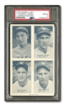 1936 EXHIBITS FOUR-ON-ONE GEHRIG/LAZZERI/RUFFING/GOMEZ (PSA GD 2)