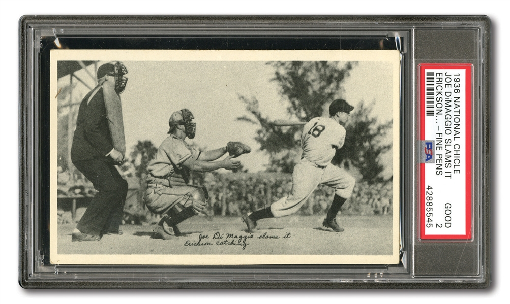 "1936 R313 NATIONAL CHICLE ""FINE PENS"" DIMAGGIO SLAMS IT - PSA GD 2"
