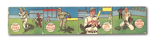 1943 M.P. & CO. R302 BASEBALL UNCUT PANEL OF (4) WITH FOXX, OTT, FELLER AND COOPER