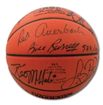BOSTON CELTICS RETIRED NUMBERS MULTI-SIGNED (19 TOTAL) OFFICIAL NBA BASKETBALL WITH AUERBACH, RUSSELL, COUSY, HAVLICEK, BIRD, ETC.