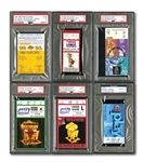 COMPLETE SET OF (6) MICHAEL JORDAN CHICAGO BULLS (1991-93, 1996-98) NBA FINALS CLINCHING GAME TICKET STUBS (5 PSA GRADED) INCL. ONE SIGNED BY MJ (PSA/DNA GEM MT 10 AUTO.)