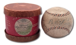 1934 TOUR OF JAPAN BALL SIGNED BY BABE RUTH, LOU GEHRIG AND 3 OTHERS WITH ORIGINAL (NEAR MINT) JAPANESE BALL BOX