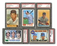 LOT OF (5) PSA GRADED ROOKIE CARDS INCL. 1968 TOPPS #177 NOLAN RYAN AND 1958 TOPPS #47 MARIS