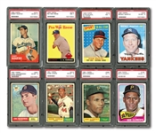 LOT OF (16) PSA GRADED TOPPS HALL OF FAMERS INCL. 1967 MANTLE #150 (EX-MT 6), 1955 MAYS #194 (NM 7-MC) & 1956 J. ROBINSON #30 (EX 5)