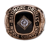 CURT BLEFARYS 1966 BALTIMORE ORIOLES WORLD SERIES CHAMPIONS 14K GOLD RING WITH REAL DIAMOND (WIFE LOA)