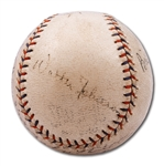 C.1933-34 CLEVELAND INDIANS AND DETROIT TIGERS MULTI-SIGNED BASEBALL WITH WALTER JOHNSON
