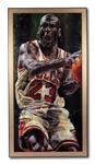 "MICHAEL JORDAN AUTOGRAPHED LIMITED EDITION (H.C. 5/6) CANVAS GICLEE ""GAME TIME"" BY ARTIST STEPHEN HOLLAND (UDA COA)"