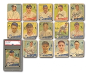 LOT OF (14) 1934 GOUDEY CARDS INCL. #61 LOU GEHRIG PSA PR 1