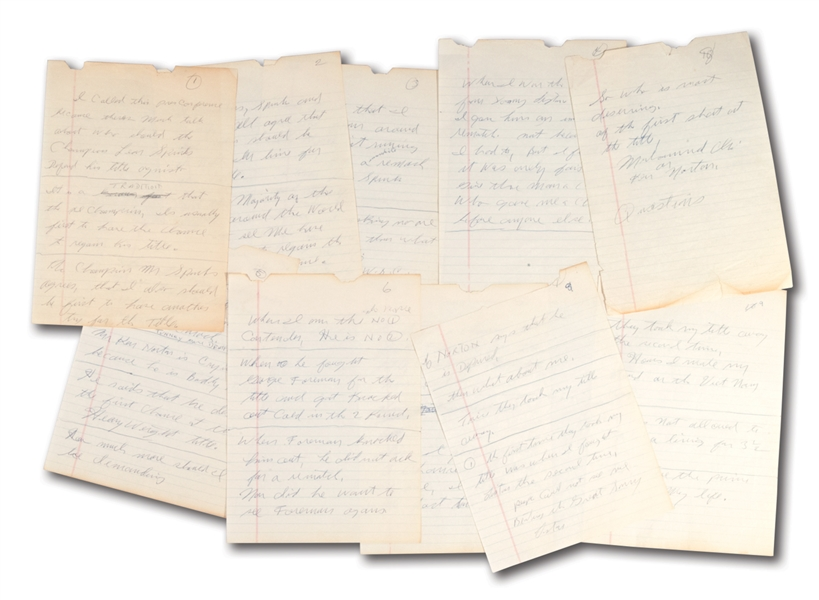 MUHAMMAD ALIS HANDWRITTEN 10-PAGE SPEECH HE GAVE MARCH 4, 1978 ON NATIONAL TV ASKING FOR REMATCH WITH LEON SPINKS (EX-PALOGER COLLECTION)