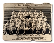 1937 SAN DIEGO PADRES PCL CHAMPIONS ORIGINAL 16x20 TEAM PHOTO FEATURING TED WILLIAMS