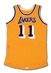 6/2/1985 BOB McADOO LOS ANGELES LAKERS NBA FINALS GAME 3 WORN HOME JERSEY (RESOLUTION PHOTO-MATCHED)