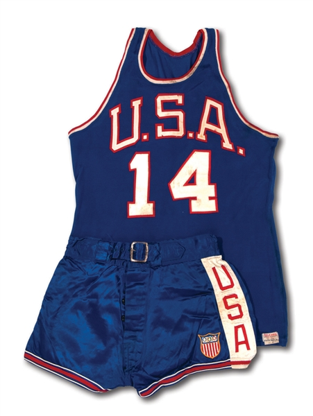 OSCAR ROBERTSONS 1960 ROME OLYMPICS USA BASKETBALL (GOLD MEDAL CHAMPIONS) FULL UNIFORM WORN IN FINAL GAME (ROBERTSON COLLECTION, MEARS A9)