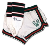OSCAR ROBERTSONS C. EARLY 1970S MILWAUKEE BUCKS GAME WORN HOME SHORTS AND AUTOGRAPHED STIRRUP SOCKS (ROBERTSON COLLECTION)