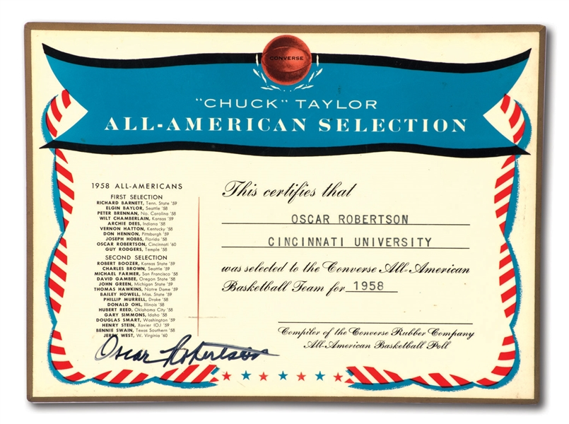 OSCAR ROBERTSONS AUTOGRAPHED 1958 CHUCK TAYLOR CONVERSE ALL-AMERICAN BASKETBALL TEAM PLAQUE (ROBERTSON COLLECTION)