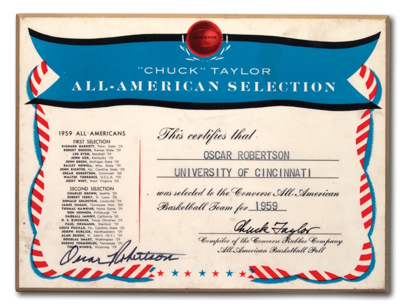 OSCAR ROBERTSONS AUTOGRAPHED 1959 CHUCK TAYLOR CONVERSE ALL-AMERICAN BASKETBALL TEAM PLAQUE (ROBERTSON COLLECTION)