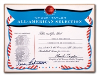 OSCAR ROBERTSONS AUTOGRAPHED 1960 CHUCK TAYLOR CONVERSE ALL-AMERICAN BASKETBALL TEAM PLAQUE (ROBERTSON COLLECTION)