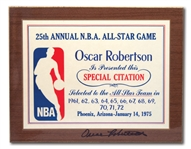 OSCAR ROBERTSONS AUTOGRAPHED 1975 NBA ALL-STAR GAME 25TH ANNIV. SPECIAL CITATION AWARD HONORING HIS 12 CONSECUTIVE ALL-STAR STREAK 1961-72 (ROBERTSON COLLECTION)
